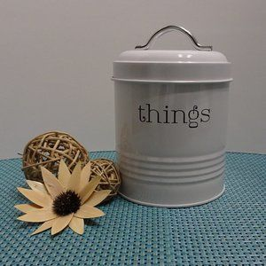"RAE DUNN ""THINGS"" Tin Can Canister With Lid Cover"